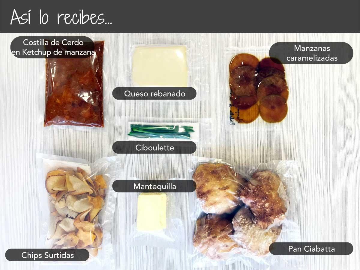 Ciabatta de Costilla de Cerdo con Salsa BBQ de Manzana y Queso Fundido