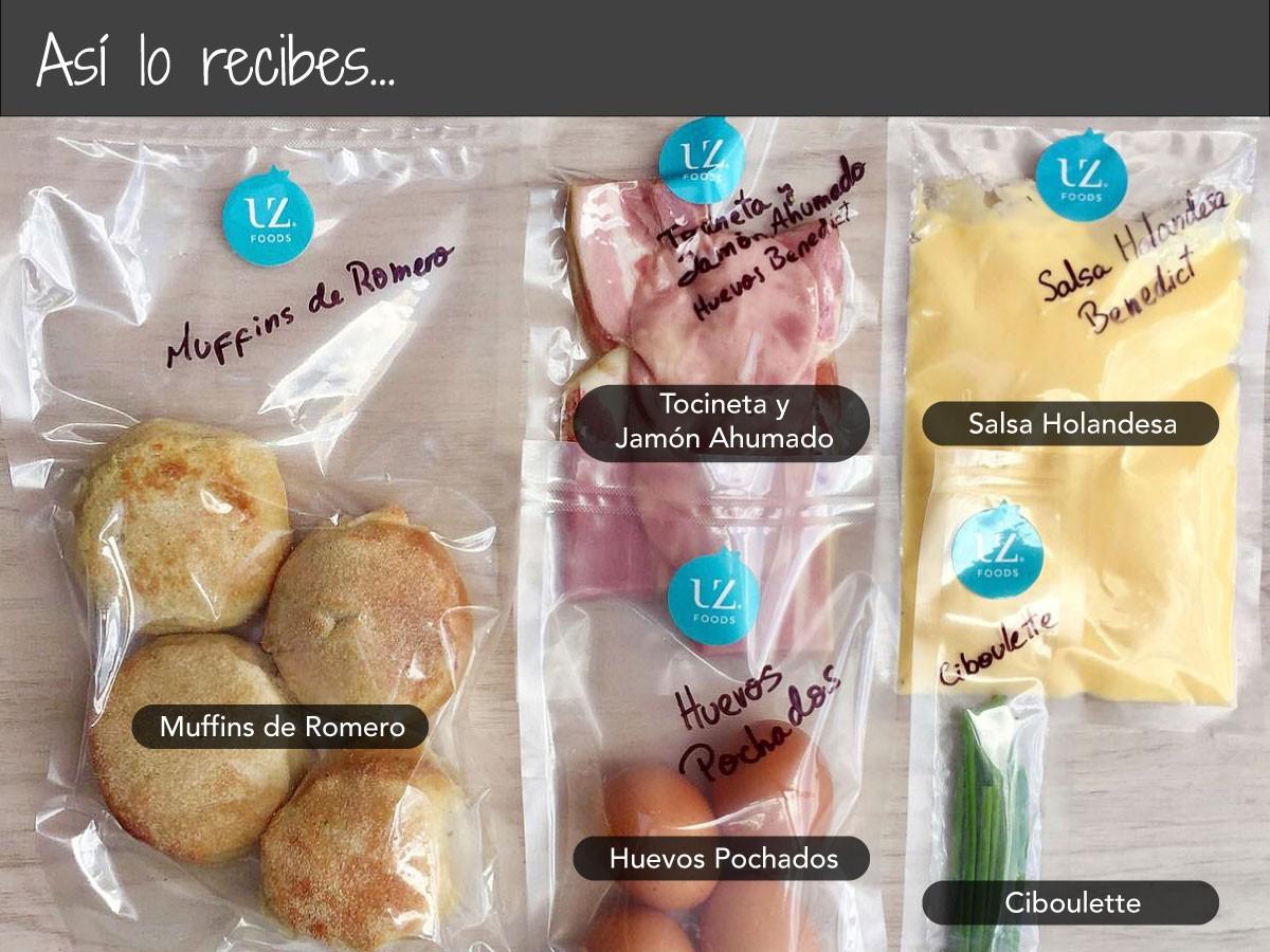 Huevos Benedictinos sobre English Muffins de Hierbas de Nuestra Huerta